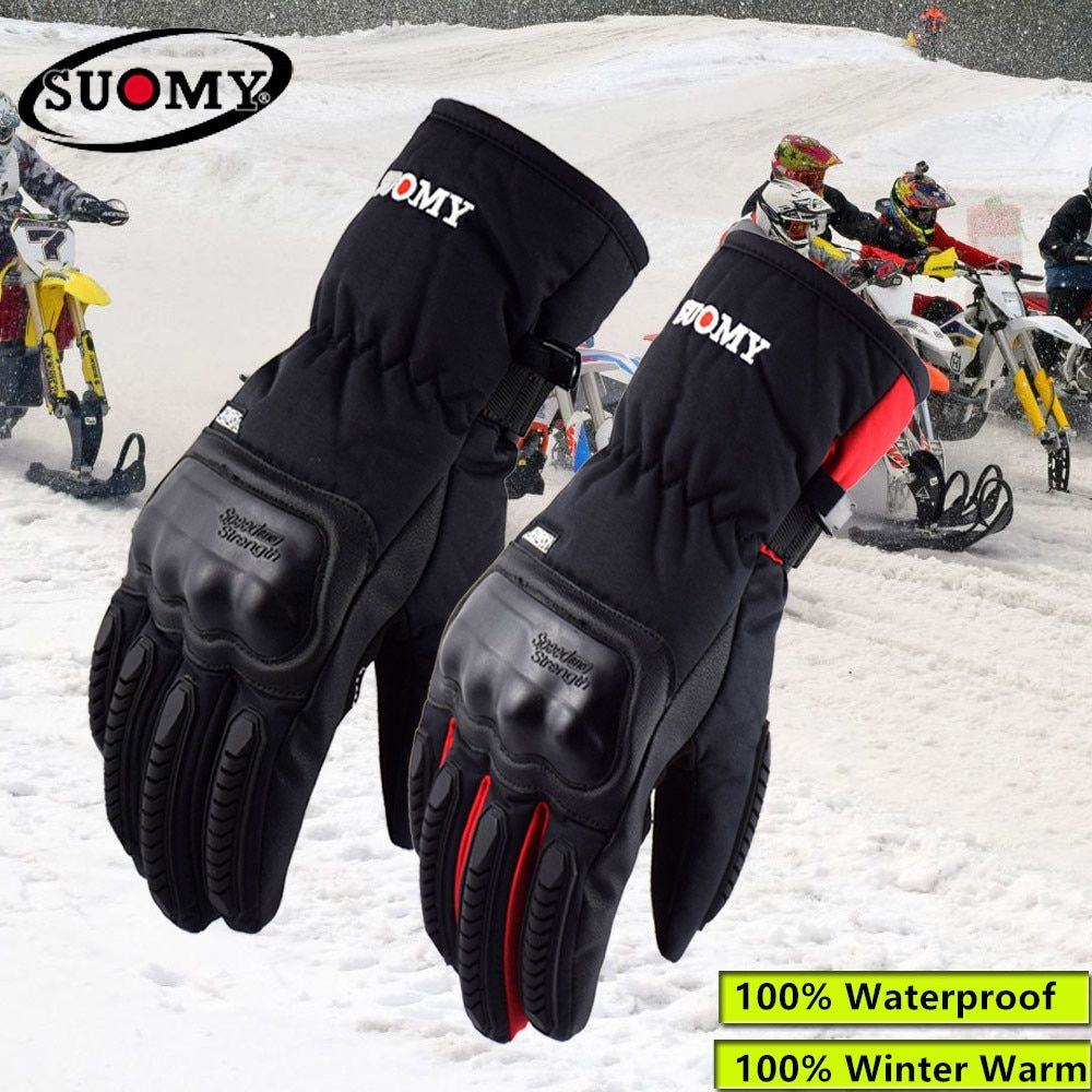 2018 New Arrival Suomy Black Waterproof Motorcycle Gloves Winter Keep Warm Motocross Gloves Men Alpine Stars Guantes Moto
