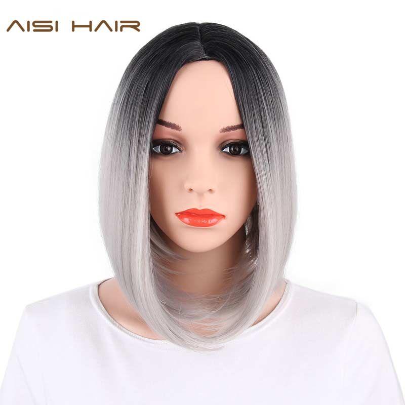 Aisi волосы Синтетические Ombre седые волосы боб Стиль короткие Искусственные парики для черный Для женщин