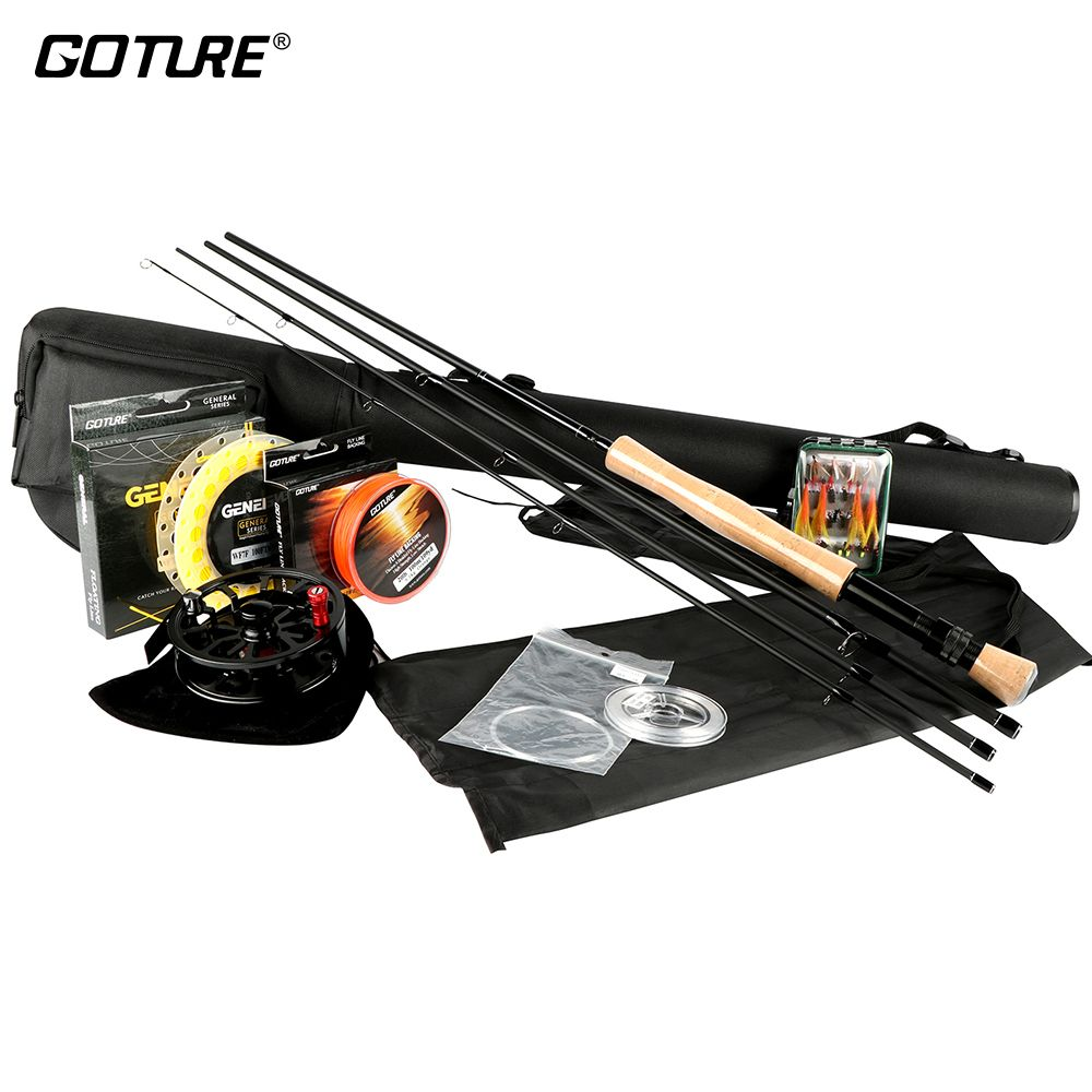 Goture Fly Fishing Rod and Reel Combo Set 5/6 7/8 Rod Combo with Fly Line Fly Lures Full Kit with Bag