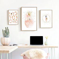 Nordique Posters Bande Dessinée Enfants Rose Flamingo Affiche Enfants Wall Art Toile Peinture Affiches Et Gravures Cuadros Decoracion Sans Cadre