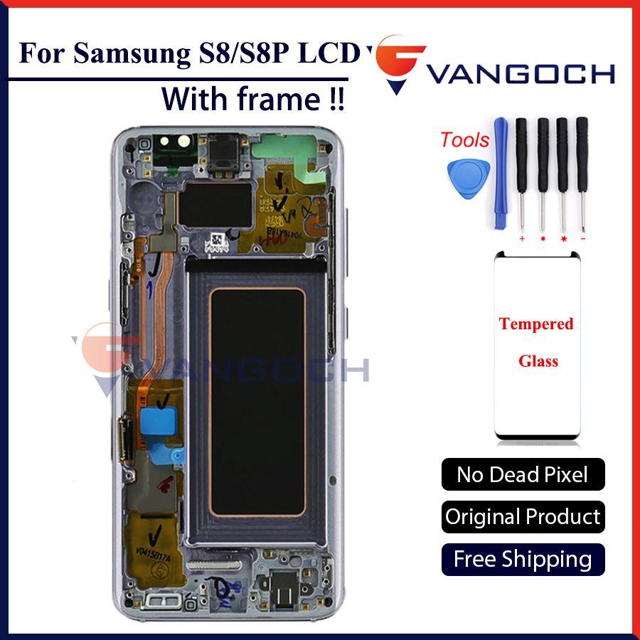 Оригинальный Super AMOLED ЖК-дисплей Экран для Samsung Galaxy S8 Дисплей G950 S8 плюс G955 Ассамблеи Замена с рамкой и бесплатный подарок