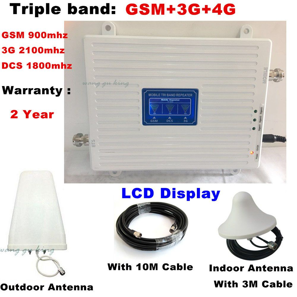 LCD display Tri Band Amplifier 900 1800 2100 GSM DCS WCDMA 2G 3G 4G LTE Signal Booster 900/1800/2100 Cellphone Cellular Repeater