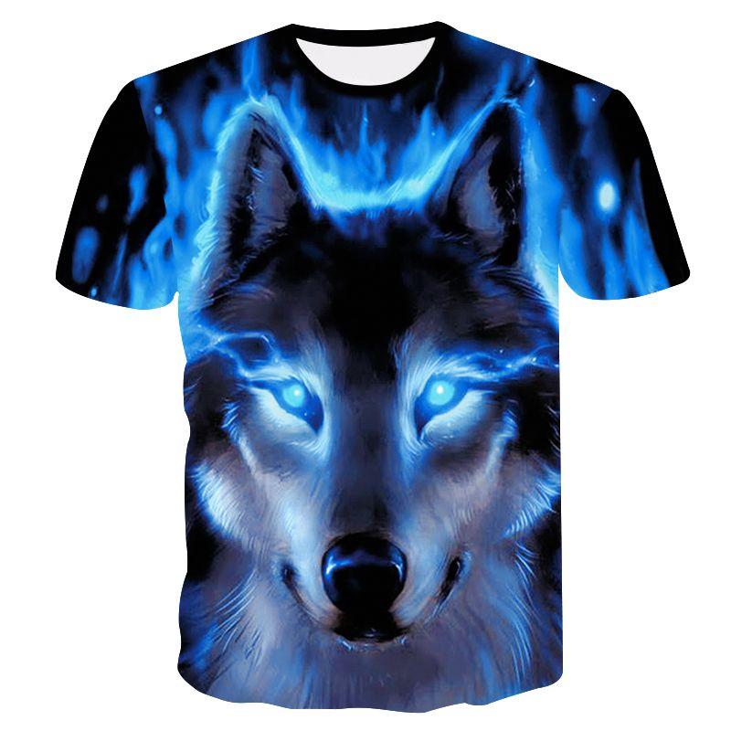 2018 Date Loup 3D Imprimer Animaux Cool Drôle T-Shirt Hommes À Manches Courtes Été Tops T-shirt T-Shirt Mode Masculine T-shirt male4XL