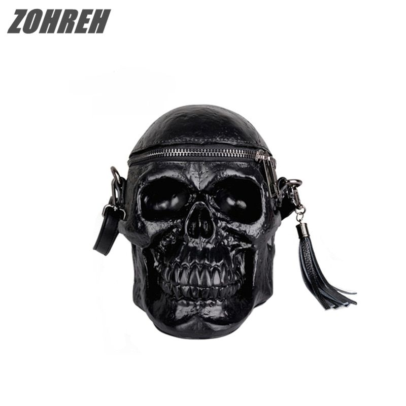 2018 Punk Originality Women Bag Funny Skeleton Head Black handbad Men Single Package Fashion Designer Satchel Package Skull Bags