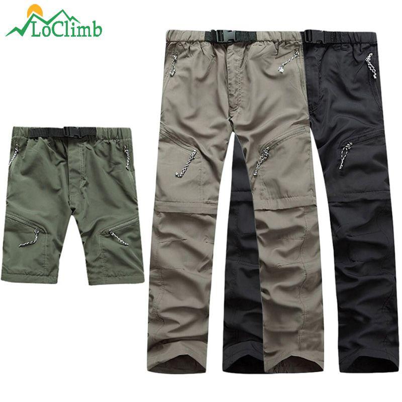 LoClimb pantalons de randonnée détachables hommes été pantalons à séchage rapide hommes Camping/Trekking/Sport de plein air pantalons imperméables Shorts AM001