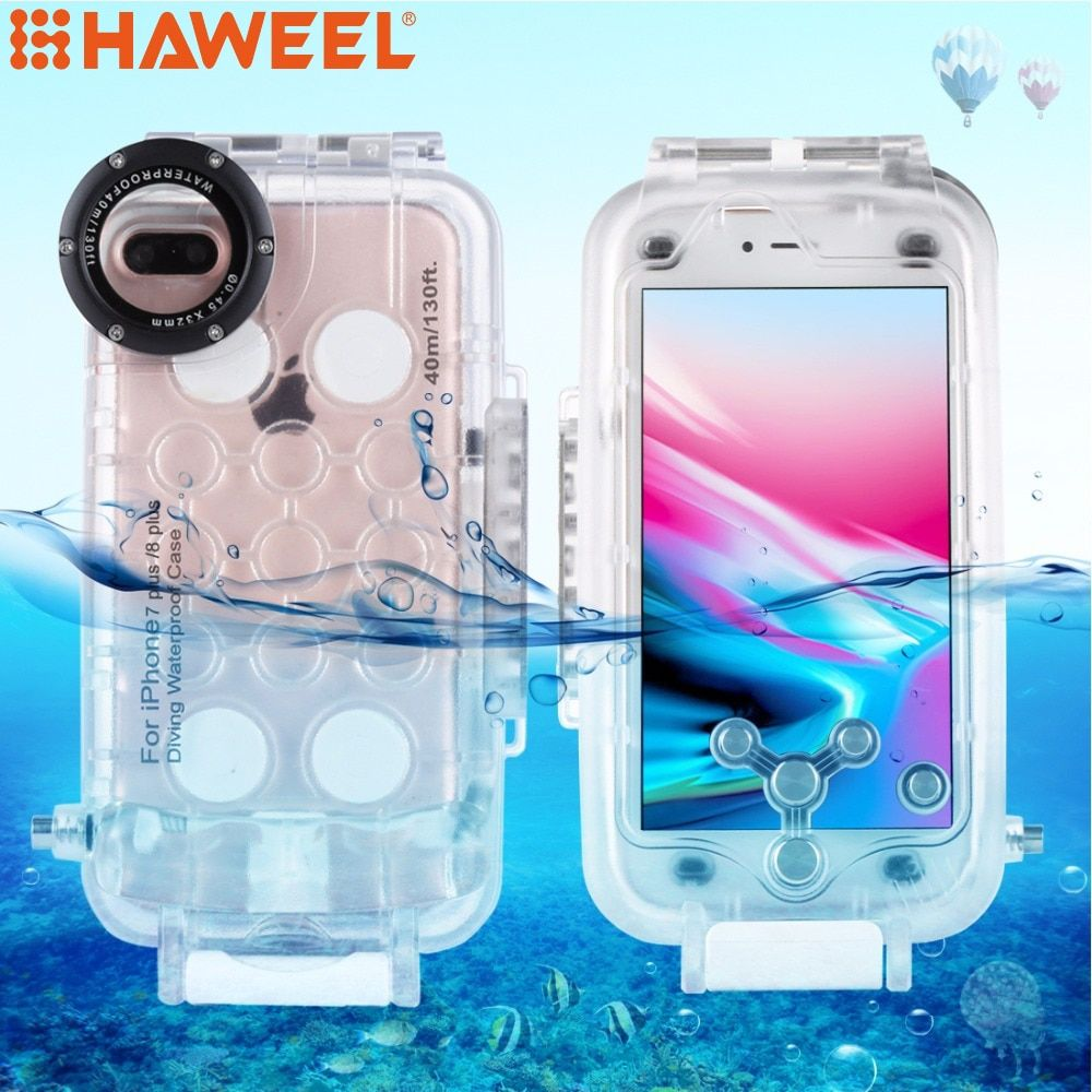 HAWEEL For iPhone 6 6s & 6 6s plus & 7 8  &7 8 plus 40M/130FT Waterproof Diving Housing Photo Video Taking Underwater Cover Case