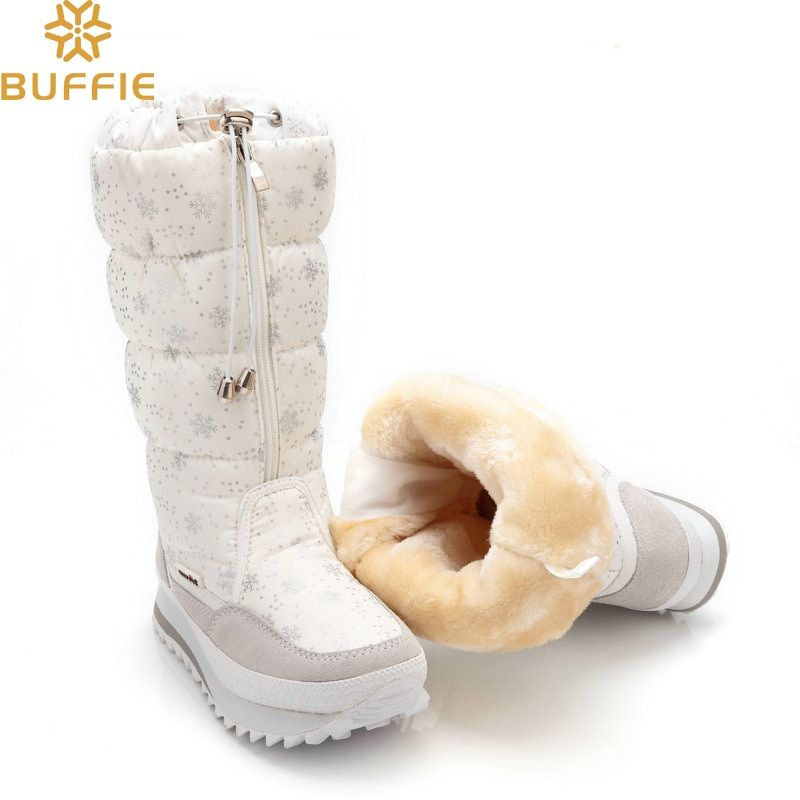 2018 Winter boots High Women Snow Boots plush Warm shoes Plus size 35 to big 42 easy wear girl white zip shoes female hot boots