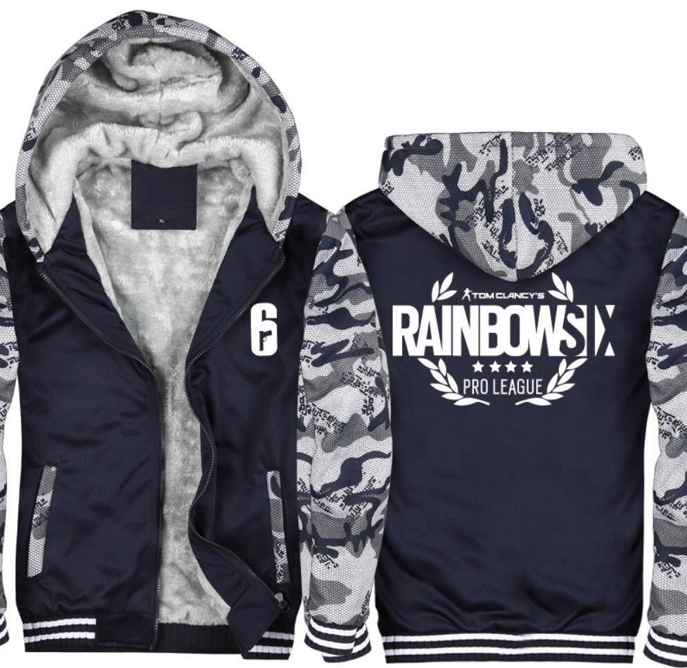 Hot New Design Tom Clancy's Rainbow Six Siege Hoodie Thick Winter Fleece Polyester Coat Jakcet Zipper jacket