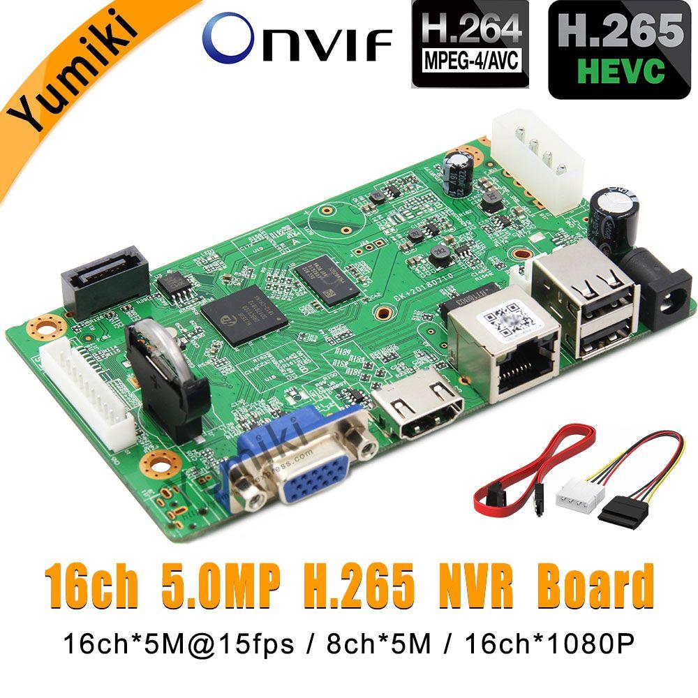 16CH*5.0MP H.265/H.264 NVR Network Vidoe Recorder DVR Board Intelligent Analys IP Camera with SATA Line ONVIF CMS XMEYE