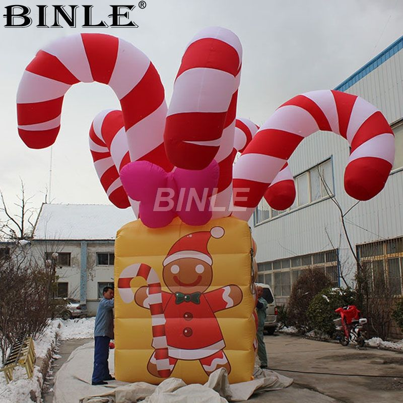 6m/20ft Large Christmas Inflatables Ornaments Giant Candy Canes Christmas Gift Box for Party Decorations