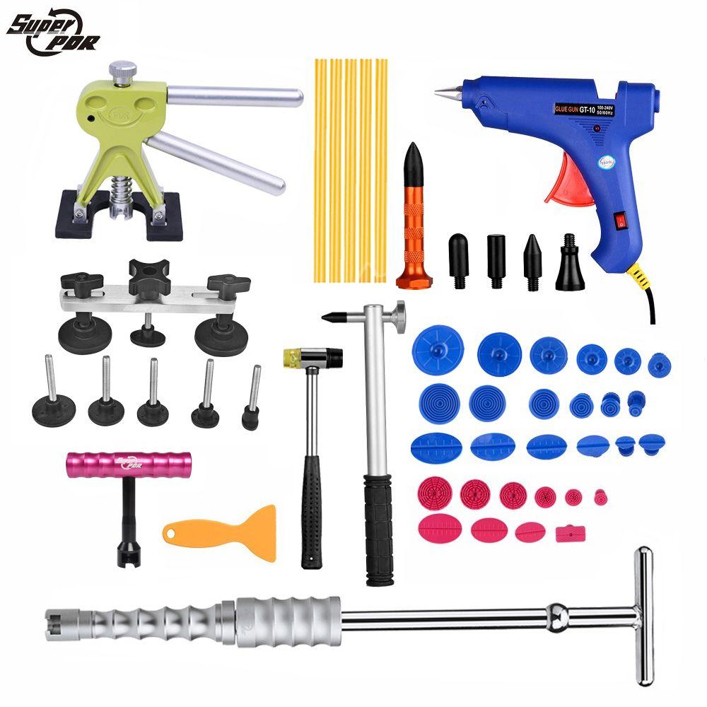 PDR tool Dent Removal Paintless Dent Repair tools for car tool kit Slide Hammer Dent Puller Glue Gun Pulling Bridge hand tools