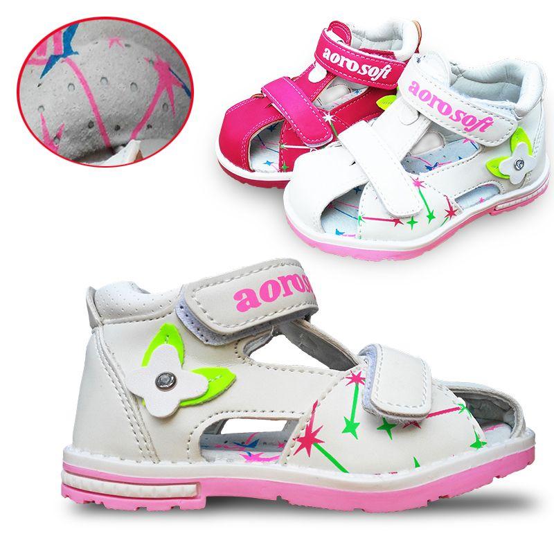 Распродажа 1 пара брендовые Детские кожаные сандалии для девочек Обувь, супер качество детей Открытый ортопедические Обувь
