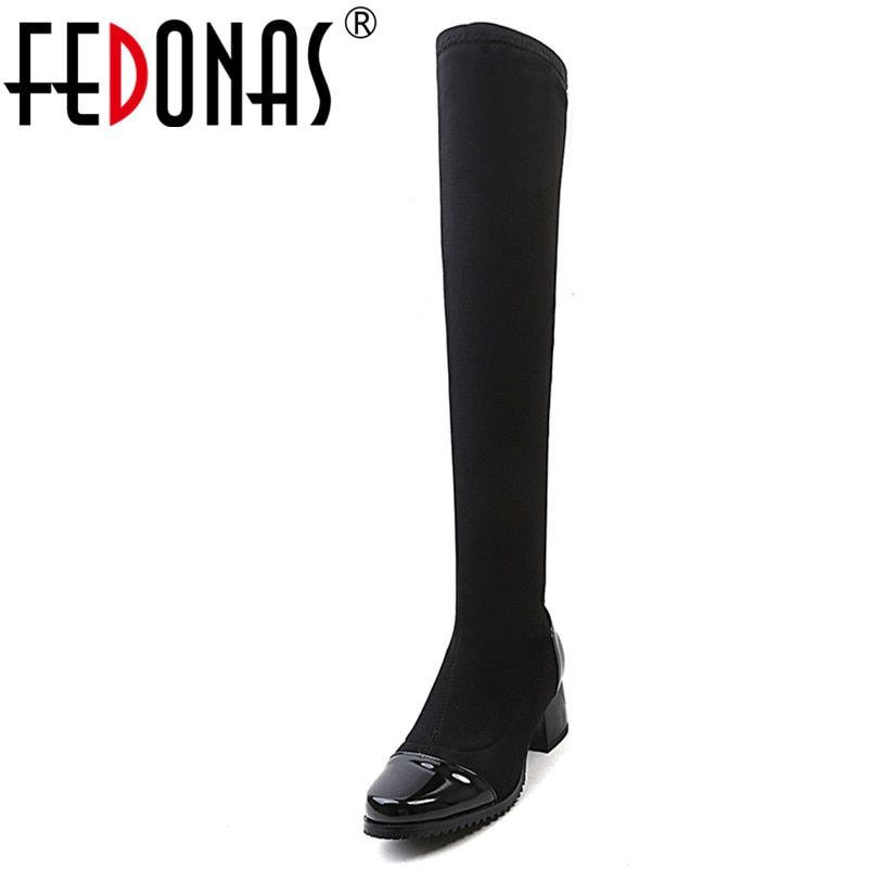 FEDONAS Over The Knee High Boots For Women High Heeled Warm Autumn Winter Long Knight Boots Female Tight High Stretch Boots