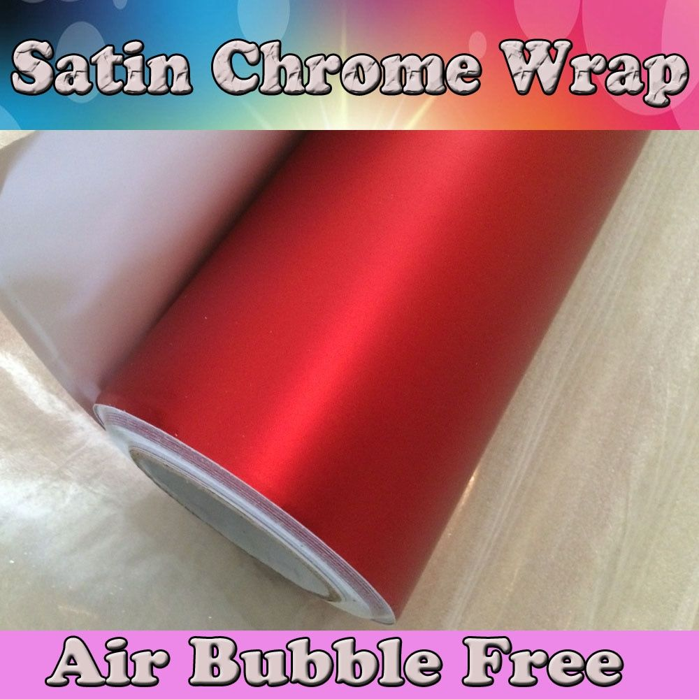 Red matte chrome Vinyl Wrap Car Wrapping Film For Car Vehicle styling With Air Rlease / Air bubble Free PROTWRAPS 1.52x20m/Roll