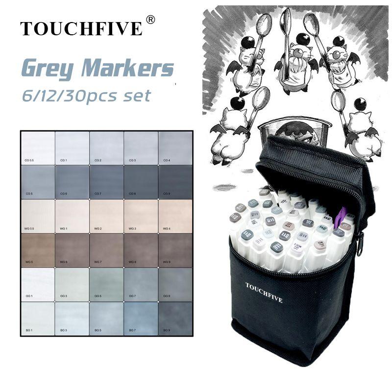 TOUCHFIVE 6/12/30 marqueurs Set à base d'alcool croquis marqueurs pinceau pour Manga dessin Art fournitures marqueurs gris Design