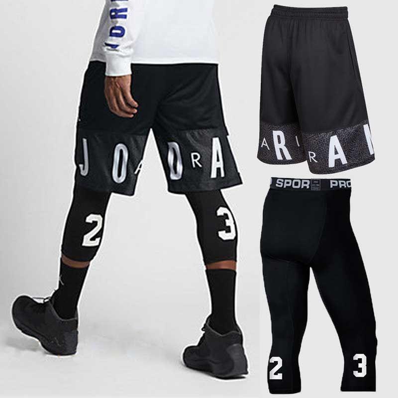 Hommes ensembles de basket-ball Sport Gym séchage rapide planche d'entraînement Shorts + collants pour homme football exercice randonnée course Fitness Yoga 85022