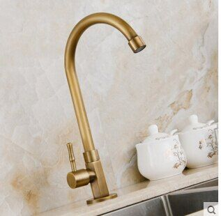 Robinet pivotant en laiton antique de 360 degrés robinet simple de cuisine froide, robinet mitigeur d'évier de cuisine avec tuyaux de plomberie, torneira cozinha