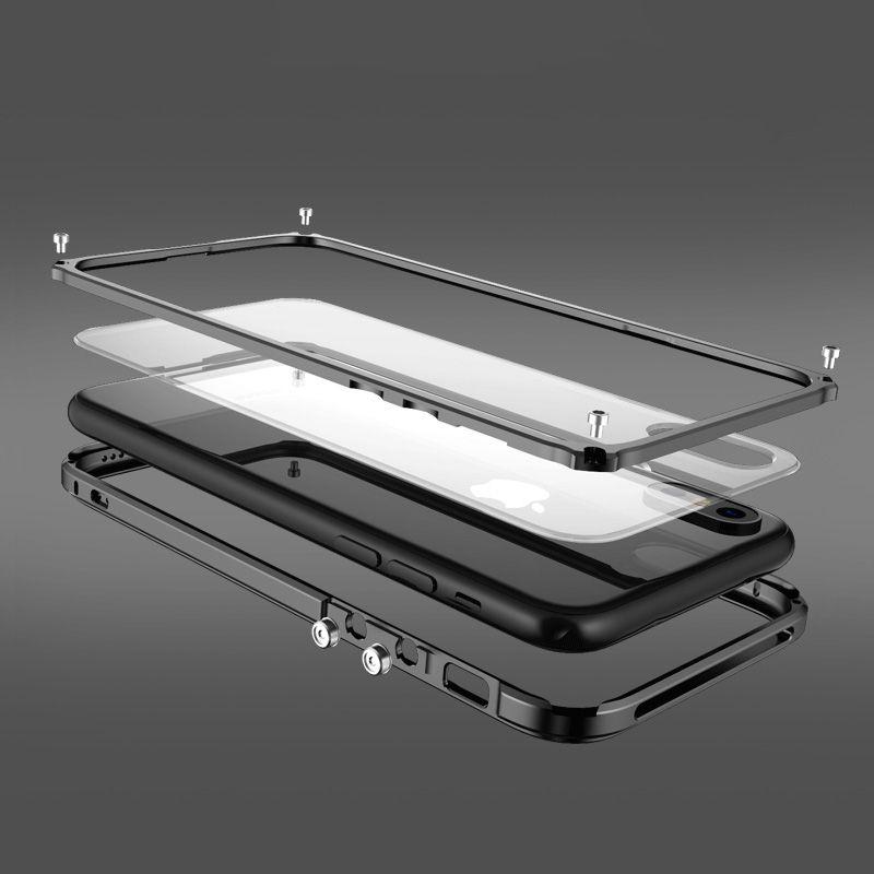 Metal Bumper For iphone 8 X black cover Luxury aluminium frame for iphoneX 8 plus shockproof phone case Transparent Backplane