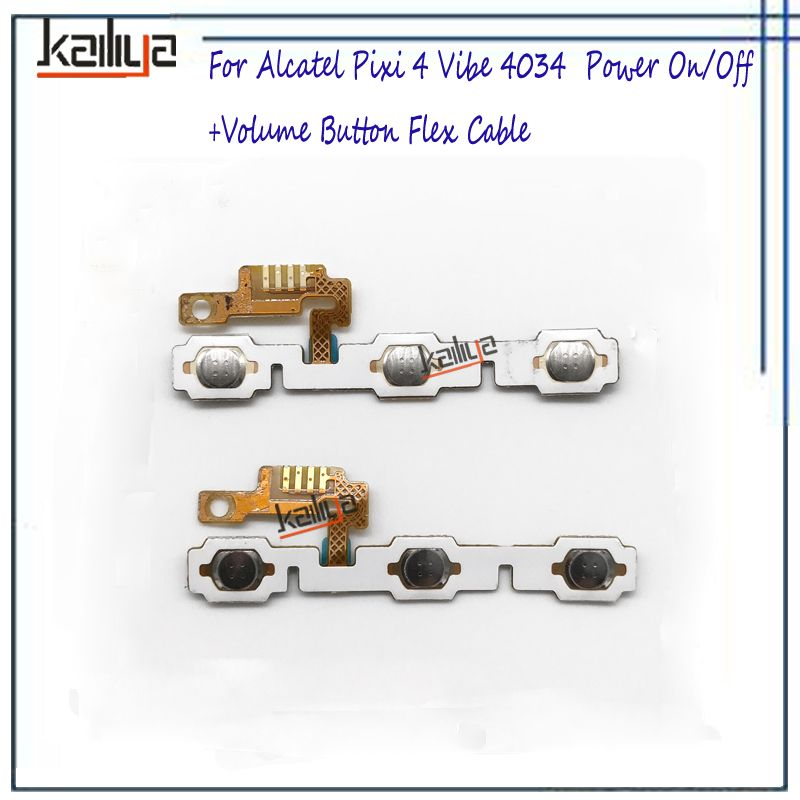 Power On and Off+Volume Button Flex Cable For Alcatel Pixi 4 Vibe 4034 OT4034 4034A 4034D Power Switch Replacement 1PCS For 4034