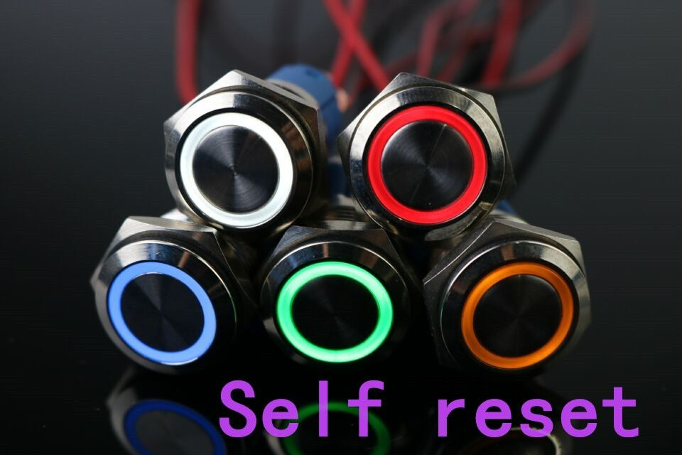 100pcs 16mm Metal Momentary Push Button Switch LED 5V 12V 24V 110V 220V StainlessLess Steel Waterproof Car Auto Engine PC