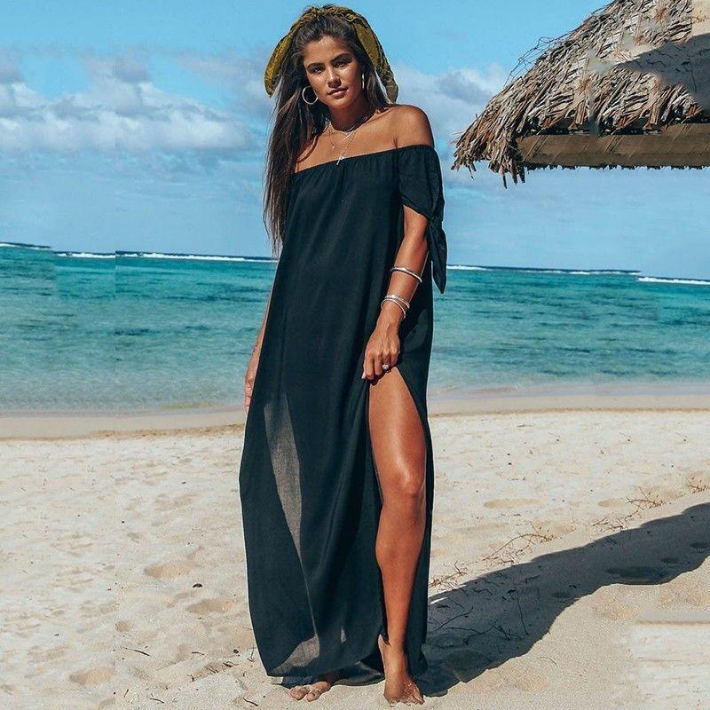 DeRuiLaDy 2019 Women Summer Short Sleeve Beach Chiffon Maxi Dress Sexy Off Shoulder Lrregular Split Long Dresses Casual Vestidos