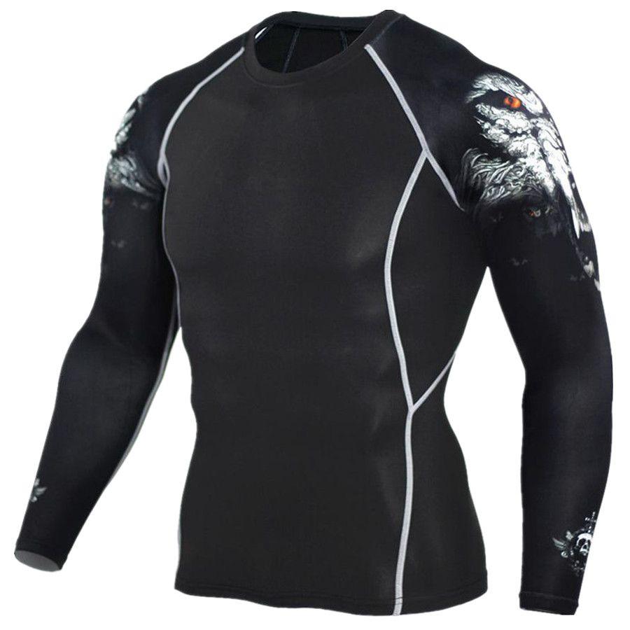 2017 hommes MMA Fitness t-shirts mode 3D adolescent loup à manches longues Compression chemise musculation entraînement marque vêtements Fitness