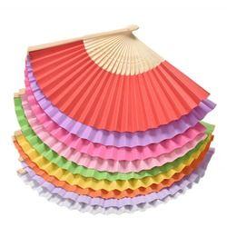 Été Chinois Main Éventails En Papier Poche Pliage Ventilateur En Bambou De Mariage Party Favor 9 Couleurs