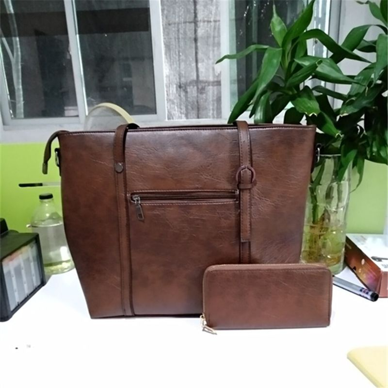 Large Capacity PU Ladies Shoulder Bag Two-piece Handbag