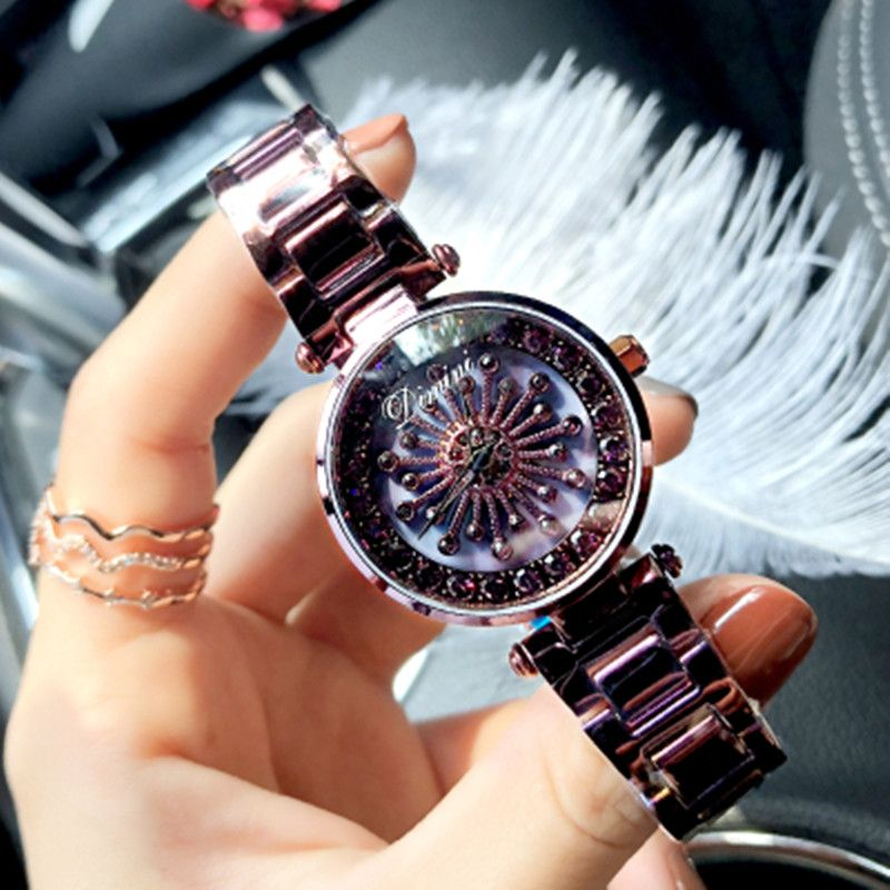 Top Brand Rotation Women Rhinestone Watches Fashion Ladies Casual Watch Women Elegant Luxury Quartz Watch Waterproof Clocks Hour