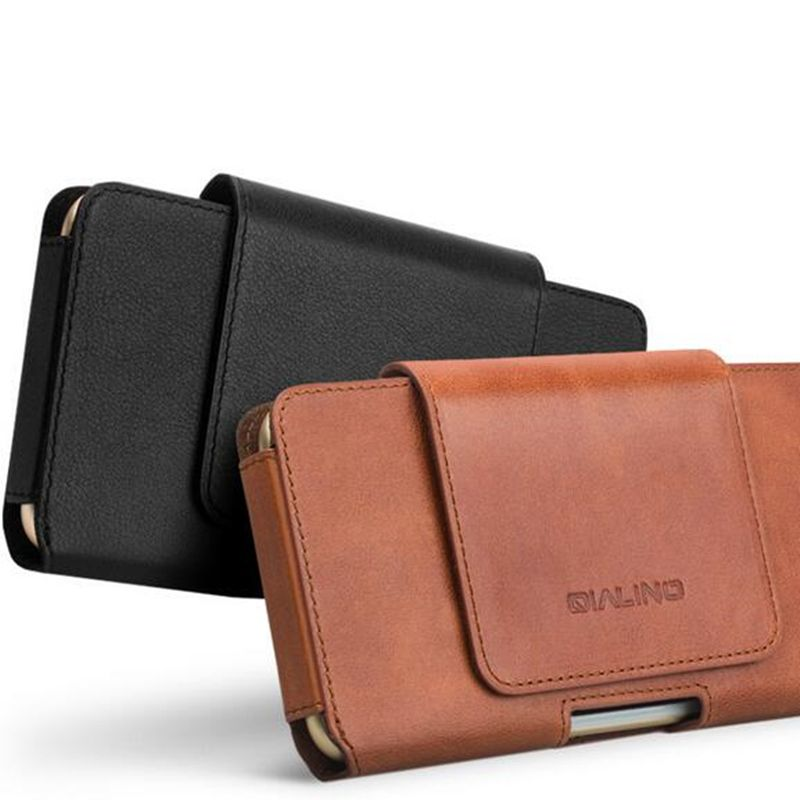QIALINO for iPhone 7 Plus Genuine Leather Case Phone Bags Waist Pocket Case for iPhone 7 iPhone 6s 6plus Phone Bags Cover