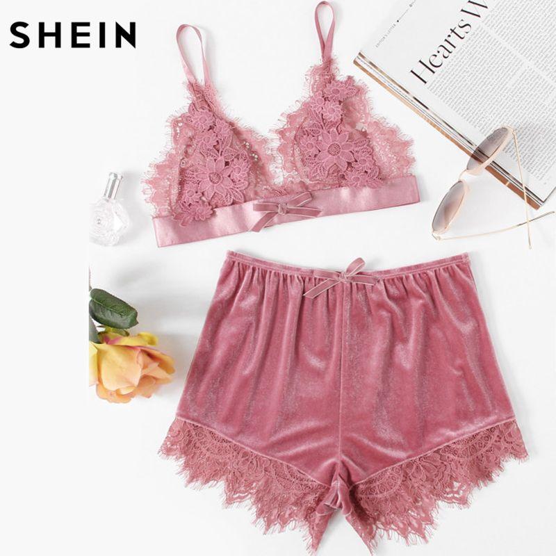 SHEIN Elegant Two Piece Set Women Pink Applique Detail Lace Bralette and Velvet Shorts Set Women Sexy Sleepwear