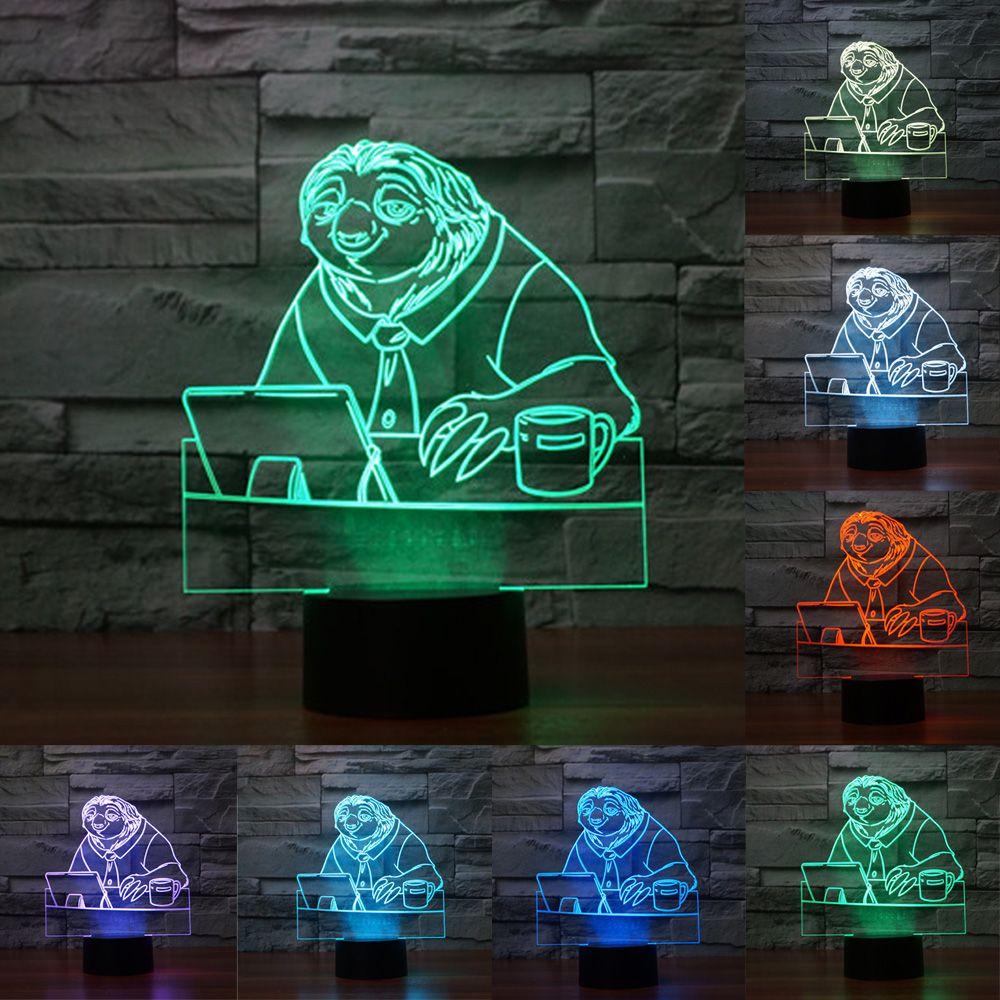 Nueva zootopia dibujos animados perezoso Nightlight 3D Interruptor táctil USB acrílico 7 color gradiente ambiente Lámparas Iluminación iy803552