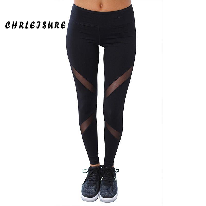 CHRLEISURE Sexy leggings femmes Gothique Insérer Mesh Conception Pantalon Pantalon grande taille Noir Capris de Sport Nouveau leggings de fitness