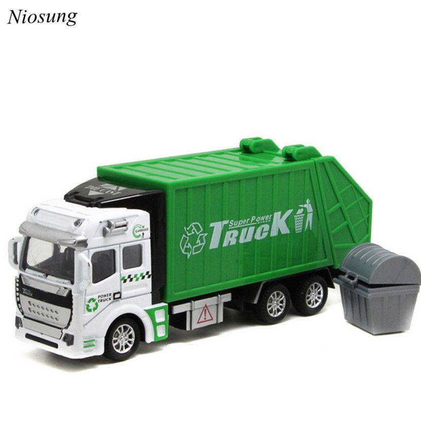 Nuevo 1:48 de Vuelta En El Coche de Juguete Coche de Juguete Camión De Basura niños Bebés y Niños juguete del coche modelo de camión de basura verde Regalo al por mayor