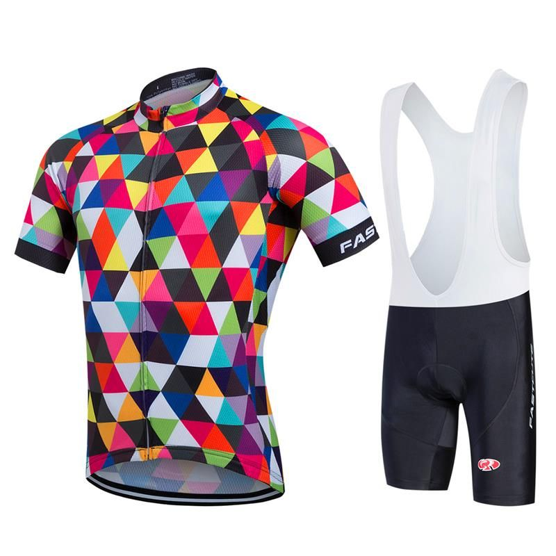 FASTCUTE Pro Cycling Jerseys Short Sleeve Cycling Uniforms Summer Men Cyclist Clothing Bib Shorts Set Road Bike Apparel