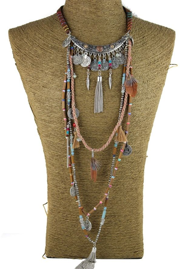 Déclaration gitane Vintage Long collier ethnique bijoux boho collier tribal collier Tibet bijoux