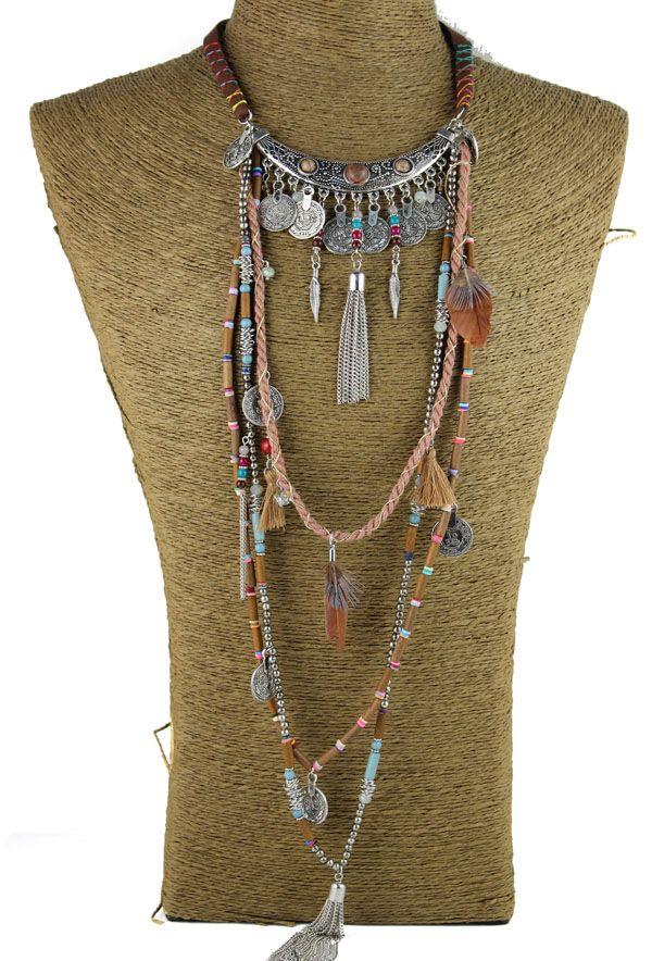 Gypsy Déclaration Vintage Long Collier Ethnique bijoux boho collier collier tribal Tibet Bijoux