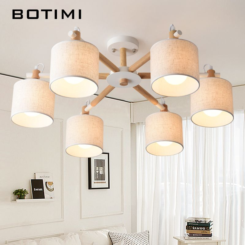 BOTIMI Nordic Wood Ceiling Lights For Living Room Bedroom Solid Wood Fabric Lamp In Japan Style Surface Mount E27 Lamps