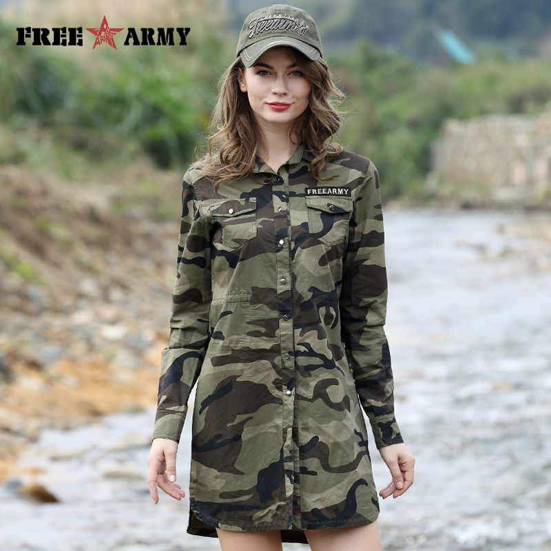 Camouflage Long Section Shirt Women Long Sleeve Clothing Top Quality Slim Fit Designer Casual Fashion Female Shirt GS-8718C