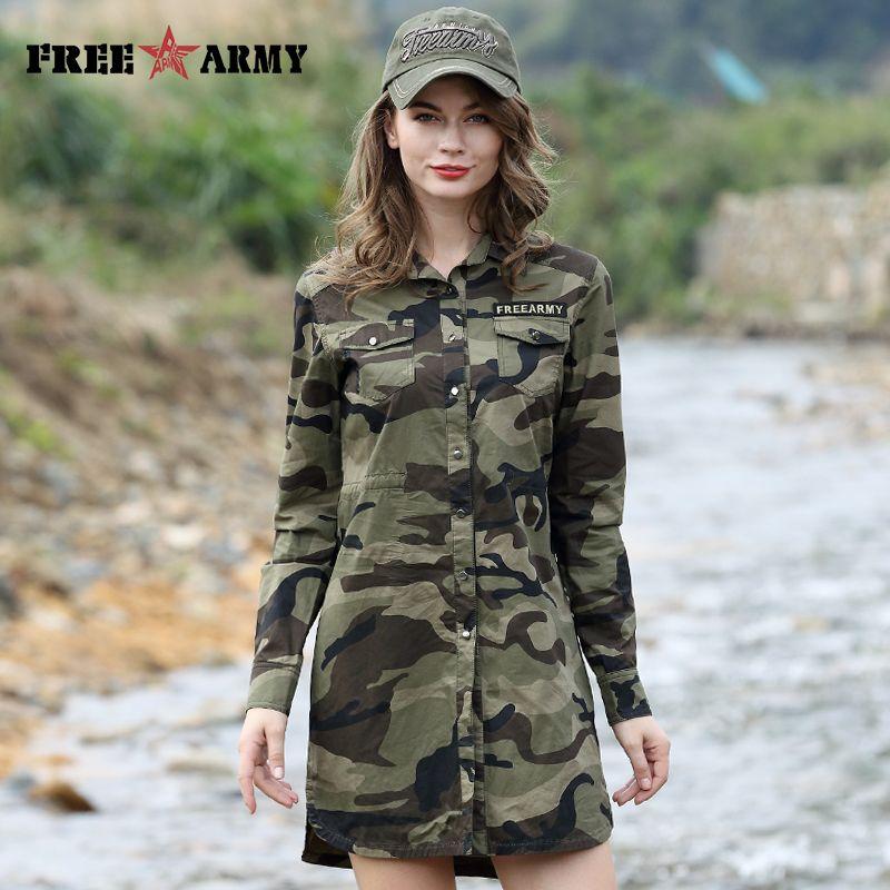 Camouflage longue Section chemise femmes à manches longues vêtements de haute qualité Slim Fit Designer décontracté mode femme chemise boutons