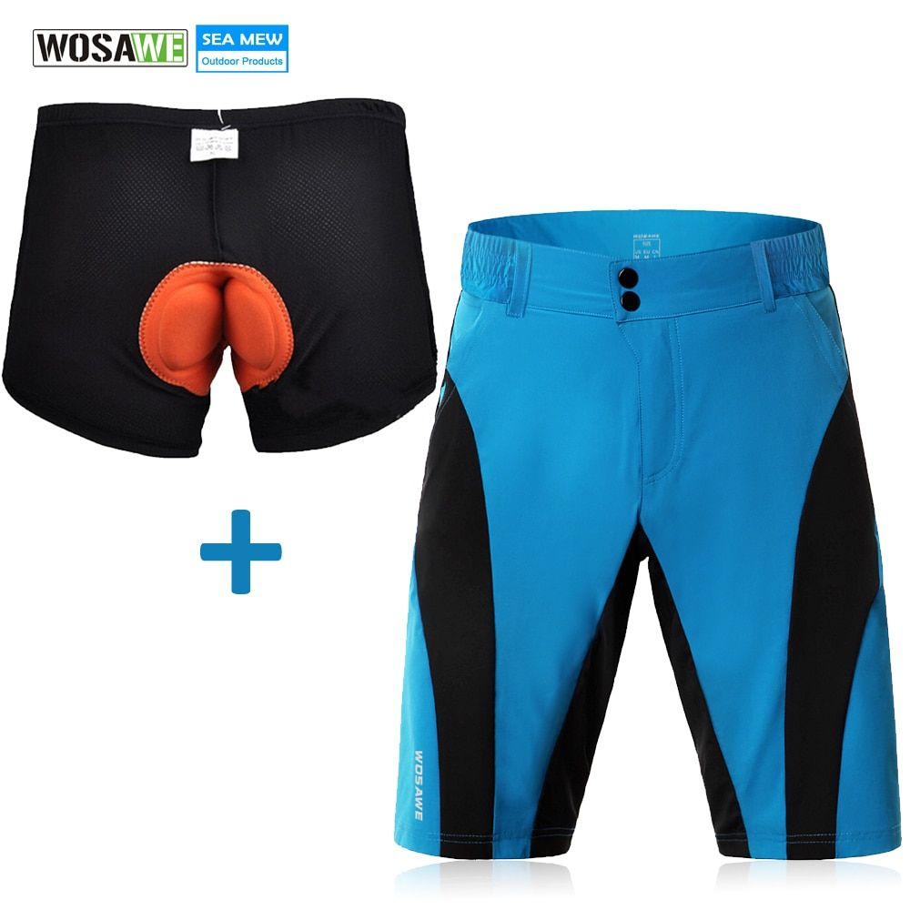 WOSAWE Moutain Bike 3D Padded Cycling Shorts Shockproof MTB Road Bike Shorts Blue Bicycle Shorts Quick Dry Bermuda Ciclismo