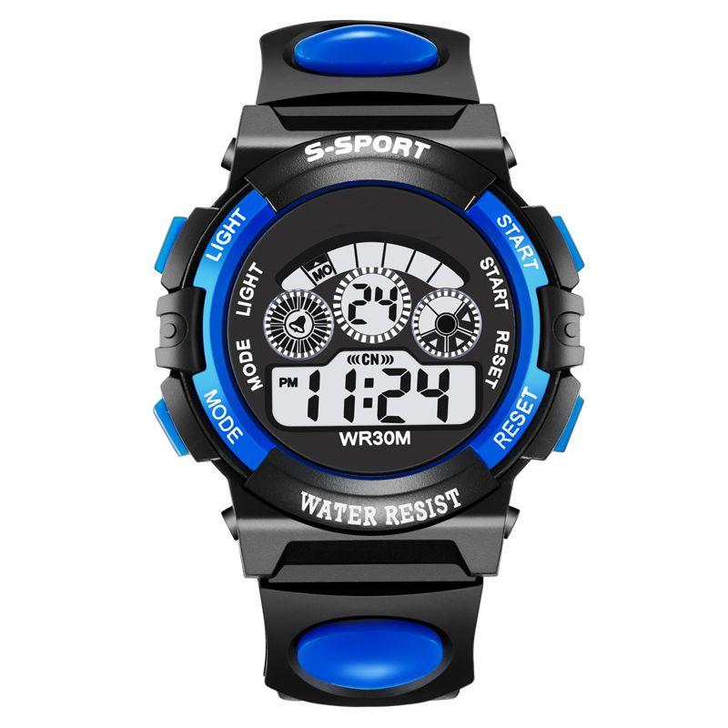 Модная детская Часы 30 м, Водонепроницаемый светодиодный цифровой часы, сигнал тревоги ударопрочность подсветкой Обувь для мальчиков спорт...