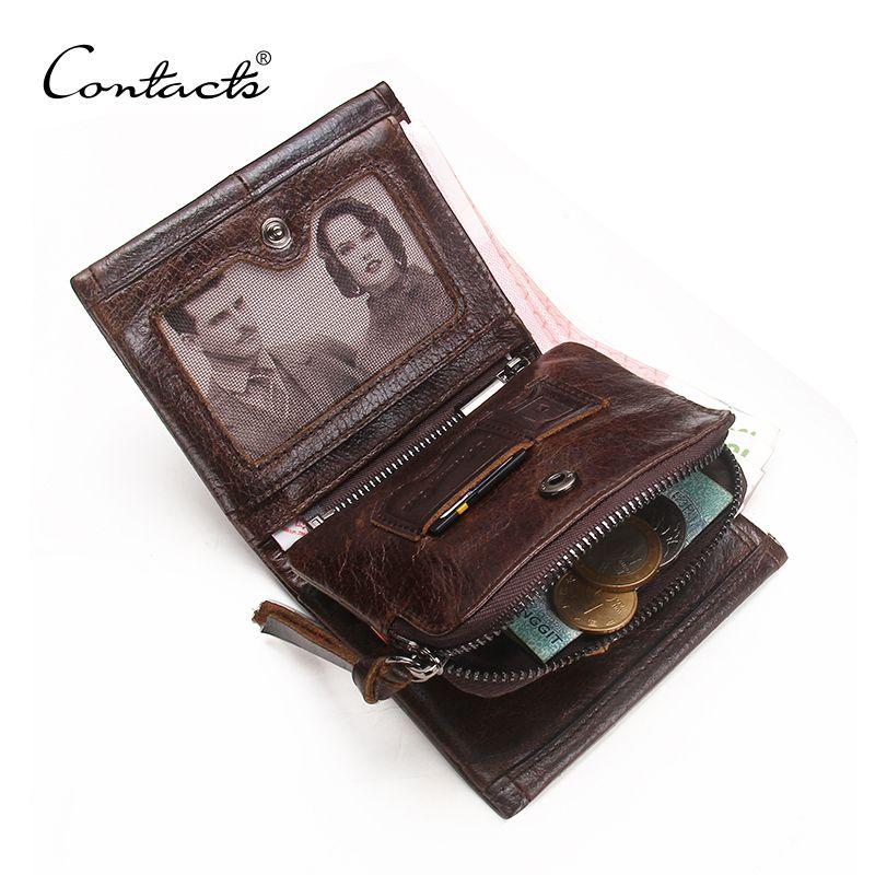 CONTACT'S portefeuille homme en cuir véritable hommes portefeuilles marque de luxe porte-carte mode porte-monnaie organisateur petits portefeuilles hommes Walet