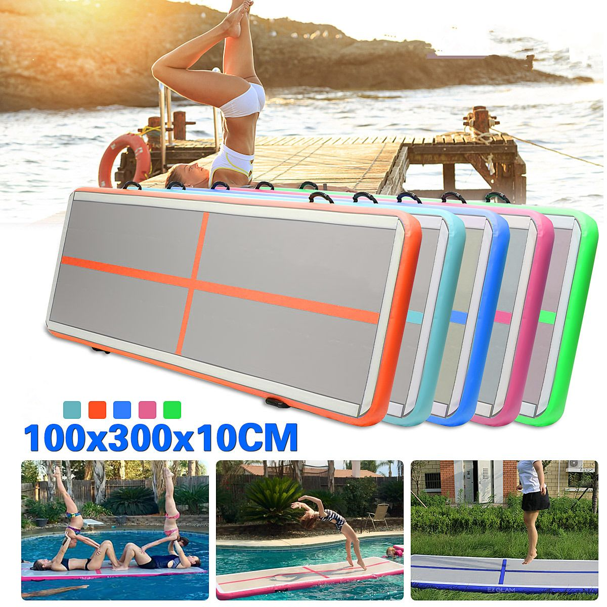 Gofun AirTrack Air Tumbling Track Training Gymnastics Mats Set Inflatable Balance Equipment Exercise 100*300*10cm 5 Colors