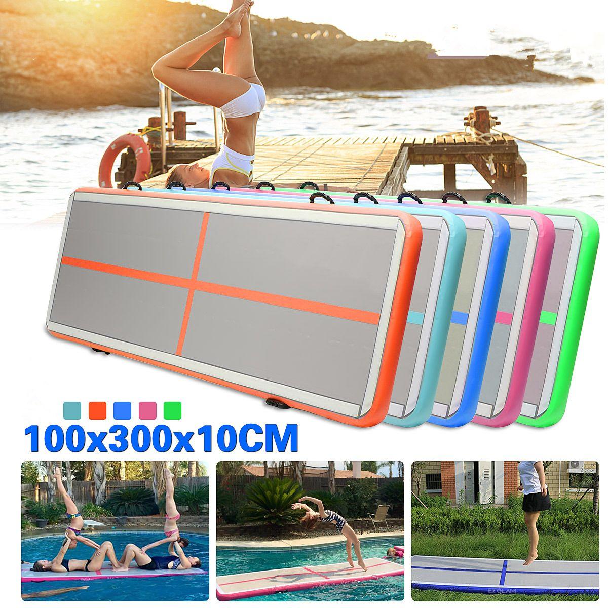 Gofun AirTrack Air Tumbling Track Training Gymnastics Mats Set Inflatable Balance Equipment Exercise 100*300*10cm 5 Colors