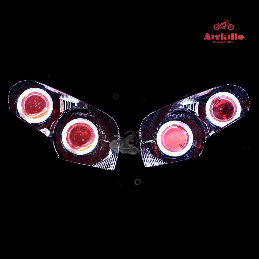 headlamp with angel eyes HID Projector headlight with project fit for Honda GL1800 2001-2017 02 03 04 05 06 08 09