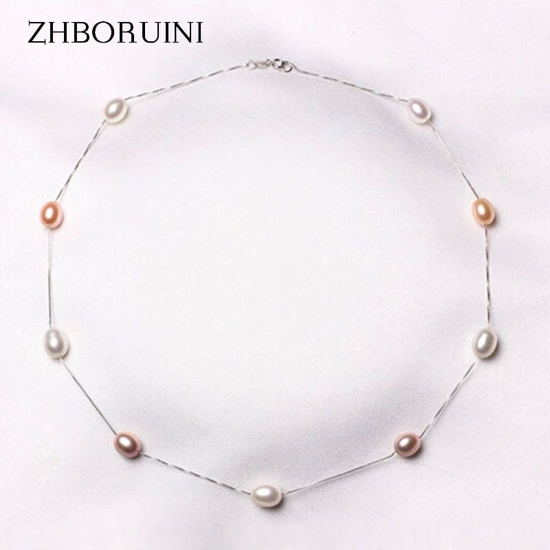 ZHBORUINI Fashion Pearl Necklace 925 Sterling Silver Pearl Jewelry Natural Freshwater Pearl Choker Pendants Jewelry For Women