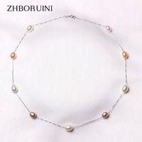 Zhboruini moda perla collar 925 joyas de plata de la perla natural de agua dulce de perlas colgantes joyería para las mujeres