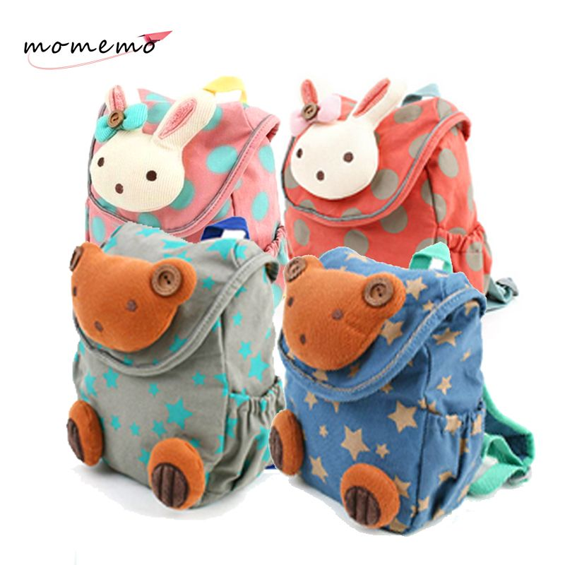 MOMEMO Los nuevos bebés y las muchachas muñeca mochila Kindergarten 3D Lindo Conejo/Estilo Oso de Peluche Mochila Niños Mochilas juguetes