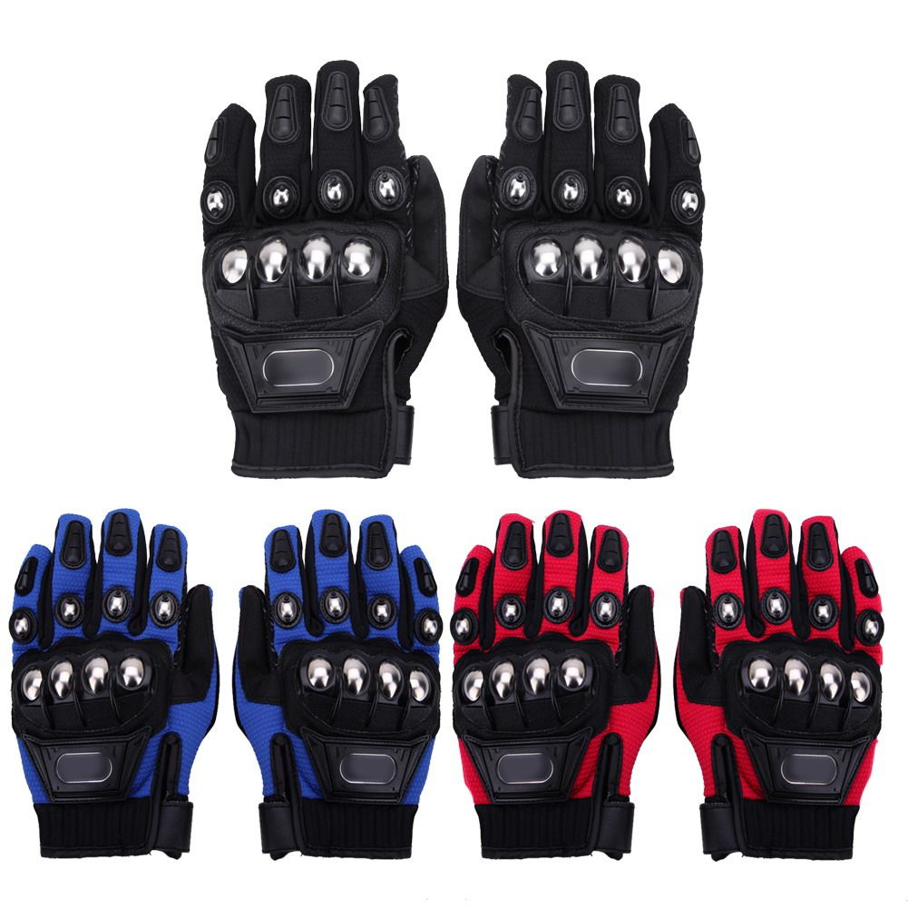 3 colors Motorcycle Gloves Outdoor Sports Full Finger Motorcycle Riding Protective Armor Black Short Leather Warm Gloves M L XL